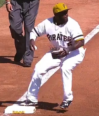 Josh Harrison tags third & turns as he starts the Pirates first ever triple play at PNC Park